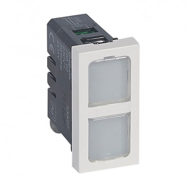 Indicator light Mosaic - 4 colour labels - double indicator 230 V- 1 module - white antimicrobial