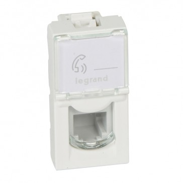 Telephone socket Mosaic - RJ11 - 4 contacts - 1 module - white
