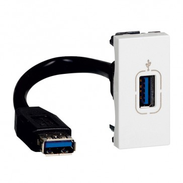 Female USB 3.0 data socket Mosaic - preterminated - 1 module - white