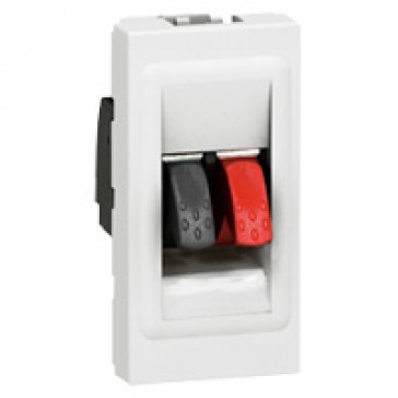Audio socket Mosaic - loudspeaker socket - 4 mm² terminal - 1 module - white