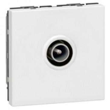 TV socket Mosaic - single - male Ø9.52 mm - 2 modules - white