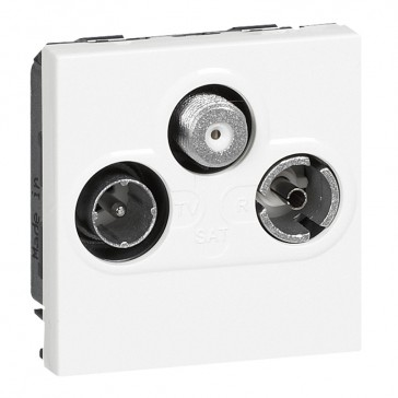 TV socket Mosaic - TV/R/SAT - screened - insulated - 2 modules - white