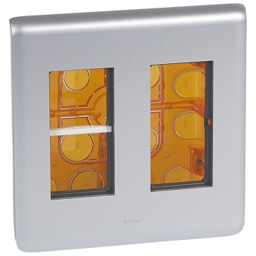 Flush-mounting workstation kit - for 2x4 modules - Alu