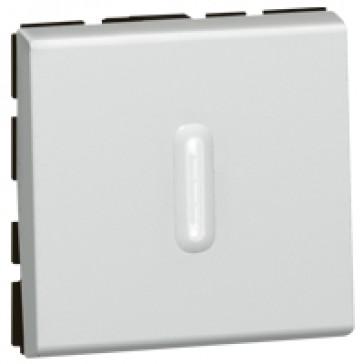 2-way push-button Mosaic - 6 A 250 V~ - 2 modules - alu