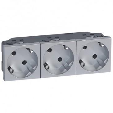 Multi-support multiple socket Mosaic - 3 x 2P+E automatic terminals - alu