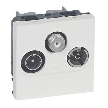 TV socket Mosaic - TV/R/SAT - screened - insulated - 2 modules - alu