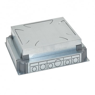 Auto-adjusting backbox for standard or flush version floor boxes - for concrete floor - 12/18 modules