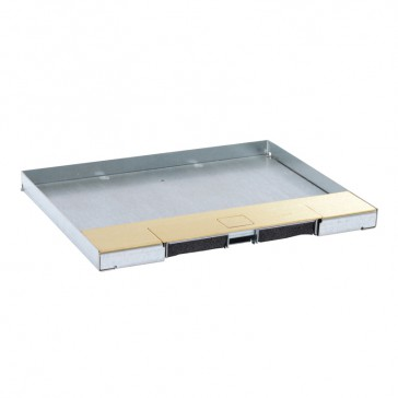 Metal lid for flush version floor boxes 12/18 modules Cat.Nos 088121 / 088124 / 088140 - with brass coating