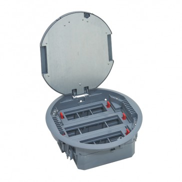 Round version floor box for wiring accessories in horizontal position - adjustable height - 20 modules
