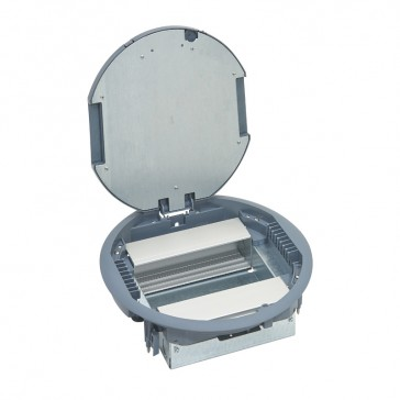 Round version floor box for wiring accessories in vertical position - 12 modules