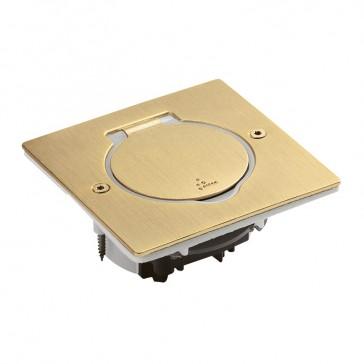 Receptacle for floor socket Arteor/Mosaic - square version - golden brushed