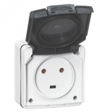 Socket outlet Plexo IP55 - 20 A - 2P+E 230 V~ - surface mounting - grey