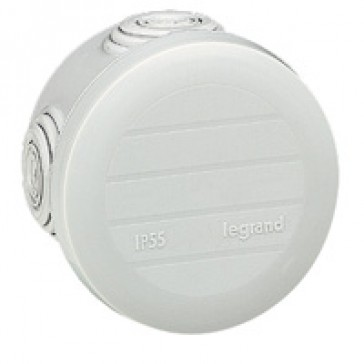 Round Plexo boxes with 4 direct entry membrane glands - IP55 IK07 - Ø60 height 40 - grey RAL 7035