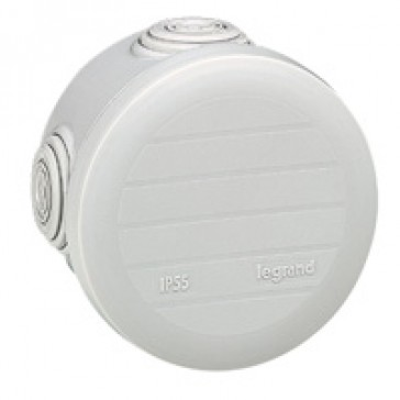 Round Plexo boxes with 4 direct entry membrane glands - IP55 IK07 - Ø70 height 45 - grey RAL 7035