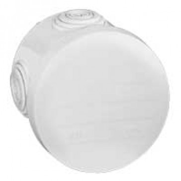 Round Plexo boxes with 4 direct entry membrane glands - IP55 IK07 - Ø70 height 45 - white RAL 9010