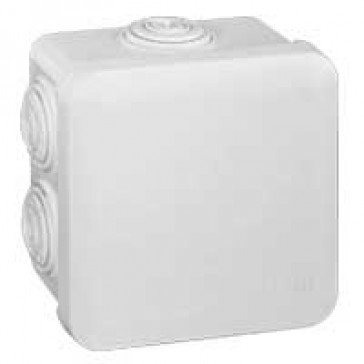 Square Plexo boxes with 7 direct entry membrane glands - IP55 IK07 - 80x80x45 mm - white RAL 9010