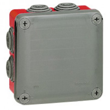 Square Plexo boxes with 7 direct entry membrane glands - IP55 IK07 - 105x105x55 mm - grey/red RAL 7035/3000