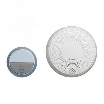 Comfort radio wireless chime kit - round chime + round IP44 door bell with label holder - battery-operated - white