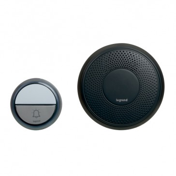 Comfort radio wireless chime kit - round chime + round IP44 door bell with label holder - battery-operated - anthracite