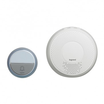 Comfort radio wireless chime kit - round chime + round IP44 door bell with label holder - plug-in 230 V - white