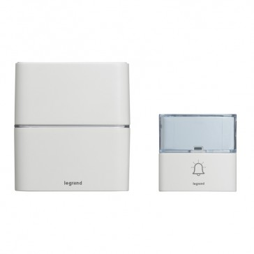 Serenity radio wireless chime kit - chime + IP54 door bell with label holder - single battery-operated - white