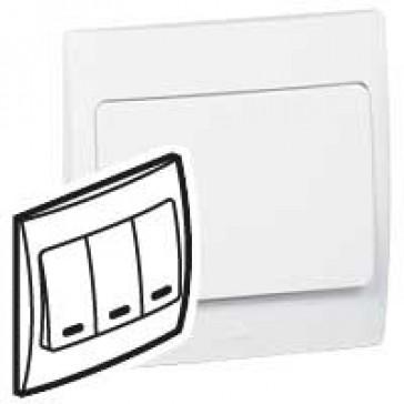 Illuminated switch Mallia - 3 gang - 2 way - 10 AX 250 V~ - white