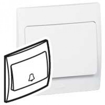Push-button Mallia - N/O contact - with bell symbol - 10 A 250 V~ - white