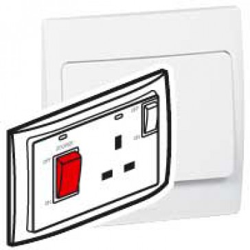 Cooker control unit Mallia - 45 A Double pole switch + 13 A switched socket - white