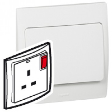 Double pole Socket outlet Mallia - switched - 2 gang - 13 A 250 V~ - white