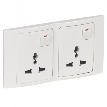 2P+E Multistandard socket outlet Mallia - 16 A-250 V/15 A-127 V - 2 gang - white
