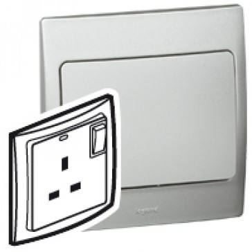 Double pole socket outlet Mallia - switched - 1 gang - 13 A 250 V~ - silver