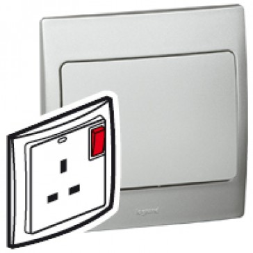 Double pole socket outlet Mallia - switched + LED - 1 gang - 13 A 250 V~ - silver