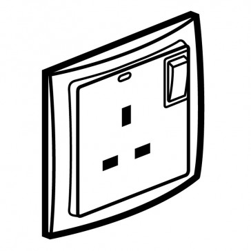 Double pole socket outlet Mallia - switched - 1 gang - 13 A 250 V~ - pearl