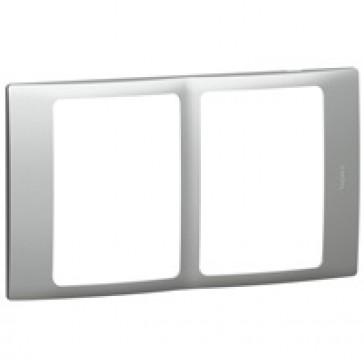 Plate Mallia - 2x1 gang - silver