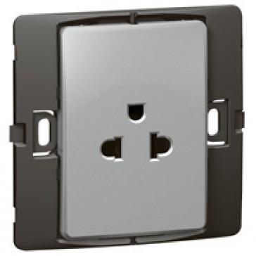 Socket outlet Mallia - Euro/US standard 10/16 A - 2P+E - 1 gang 250 V~ - silver