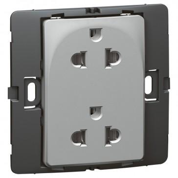 Socket outlet Mallia - Euro/US standard 10/16 A - 2P+E - 2 gang 250 V~ - silver