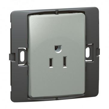 2P+E US standard socket outlet Mallia - 15 A-127 V - SASO agreement - 1 gang -silver