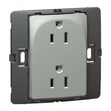 2P+E US standard socket outlet Mallia - 15 A-127 V - SASO agreement - 2 gang -silver