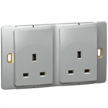 Socket outlet Mallia - unswitched - 2 gang - 13 A 250 V~ - silver