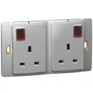 Socket outlet Mallia - switched - 2 gang+Led - 13 A 250 V~ - silver