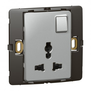 2P+E Multistandard socket outlet Mallia - 16 A-250 V/15 A-127 V - 1 gang -silver
