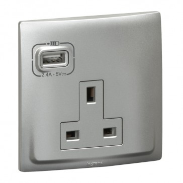 British standard socket outlet with USB charger Mallia - unswitched - 1 gang - 13 A 250 V~ - silver