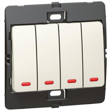 Illuminated switch Mallia - 4 gang - 2 way - 10 AX 250 V~ - pearl