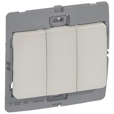 Single pole switch Mallia - 3 gang - 1 way 20 AX 250 V~ - pearl
