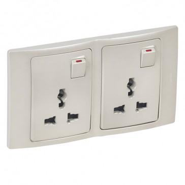 2P+E Multistandard socket outlet Mallia - 16 A-250 V/15 A-127 V - 2 gang - pearl