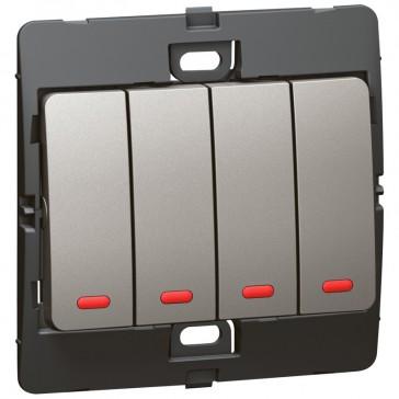 Illuminated switch Mallia - 4 gang - 2 way - 10 AX 250 V~ - dark silver