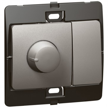Dimmer Mallia - 500 W rotary control dimmer + 2 way switch - dark silver