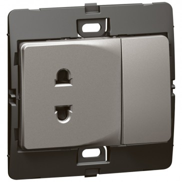 Socket outlet Mallia - Euro/US standard 10/16 A - 2P+10 A switch 250 V~ - dark silver