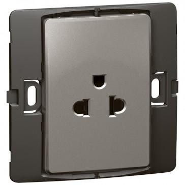 Socket outlet Mallia - Euro/US standard 10/16 A - 2P+E - 1 gang 250 V~ - dark silver