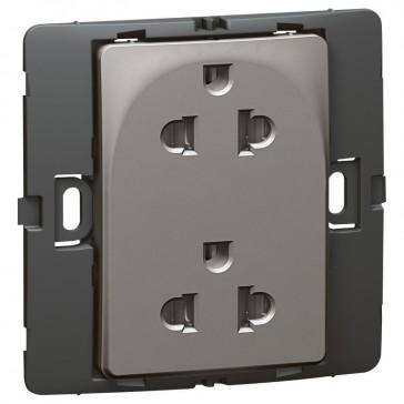 Socket outlet Mallia - Euro/US standard 10/16 A - 2P+E - 2 gang 250 V~ - dark silver